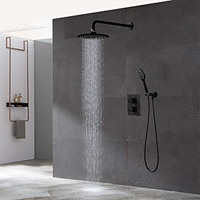 cheap New Arrivals-Bathroom Concealed Black Thermostatic Shower Set 10 inch Rainfall Overhead and Hand-held Shower Room Faucet Kit