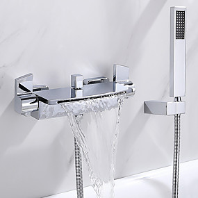 cheap Bathtub Faucets-Bathtub Faucet Chrome Wall Mounted Ceramic Valve Bath Shower Mixer Taps / Two Handles Two Holes