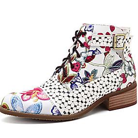 preiswerte Vorverkauf-Damen Stiefel Schuhe drucken Flacher Absatz Runde Zehe PU Booties / Stiefeletten Herbst Winter Schwarz / Rot