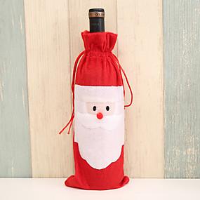 رخيصةأون ضيافة الزفاف-غطاء زجاجة النبيذ قماش 1 قطعة عيد الميلاد