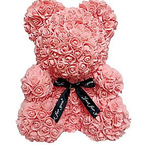 preiswerte Kunstblume-25 cm / 40 cm höhe simulation rose bär paar bär puppe spielzeug weihnachtsdekoration ewige blume geschenk romantischen valentinstag