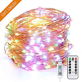 cheap Light Strips & Strings-1pcs USB 10m 100leds LED String Light Colorful Waterproof LED Copper Wire Strings Holiday Lighting Fairy For Christmas Party Wedding Decoration
