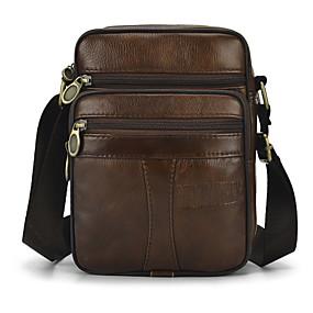 cheap Shoes & Bags-Men's Zipper Cowhide Briefcase Solid Color Brown