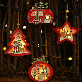 cheap Gifts & Decorations-Christmas Tree Decoration Wood 1 Piece Christmas