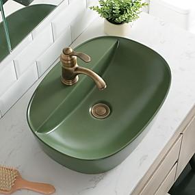 preiswerte Waschschalen und Aufsatz-Waschbecken-Waschbecken für Badezimmer Moderne - Gals Rundförmig Vessel Sink