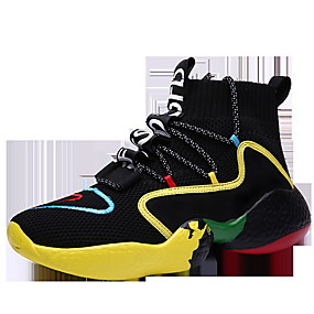 cheap Shoes & Bags-Men's Comfort Shoes Fall & Winter Sporty Daily Trainers / Athletic Shoes Running Shoes Tissage Volant Shock Absorbing Mid-Calf Boots Black / White / Black / Yellow / Black Color Block