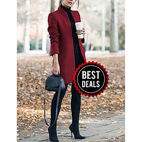 preiswerte Damenbekleidung-Damen Alltag Lang Mantel, Solide Ständer Langarm Polyester Wein / Grau / Khaki