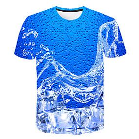 preiswerte Herrenmode-Herrn Geometrisch / 3D - Grundlegend T-shirt Druck Blau