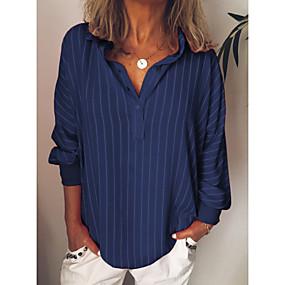 preiswerte Damenbekleidung-Damen Gestreift Hemd Gelb