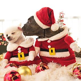 preiswerte Sport & Hobbys-Katze Hund Kostüme Overall Weihnachten Winter Hundekleidung Rot Kostüm Polar-Fleece Cartoon Design Cosplay Weihnachten XS S M L XL