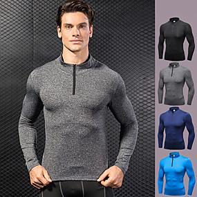 cheap Yoga & Fitness-YUERLIAN Men's Running Shirt Winter Black Blue Dark Navy Gray Fitness Gym Workout Running Tee Tshirt Base Layer Long Sleeve Sport Activewear Lightweight Windproof Quick Dry Compression High Elasticity