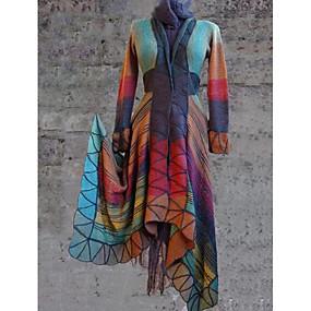 preiswerte Damenbekleidung-Damen Alltag Standard Mantel, Geometrisch V-Ausschnitt Langarm Polyester Purpur / Orange / Gelb