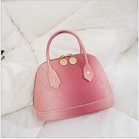 cheap Shoes & Bags-Women's PU Tote Solid Color Blue / Blushing Pink / Gray / Fall & Winter