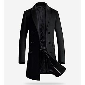 cheap Athleisure Wear-Men's Coat Daily Winter Long Coat Peaked Lapel Slim Jacket Long Sleeve Solid Colored Gray Black