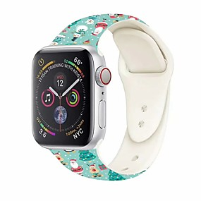cheap Smartwatch Accessories-Watch Band for Apple Watch New Series 5/4/3/2/1 Apple Sport Band Silicone Wrist Strap New Christmas Decor