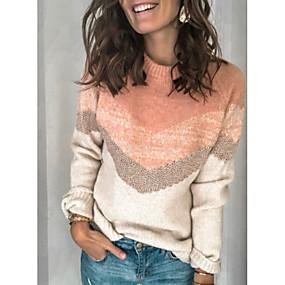 preiswerte -0.7-Damen Einfarbig Langarm Pullover Pullover Jumper, Rundhalsausschnitt Rosa M / L / XL