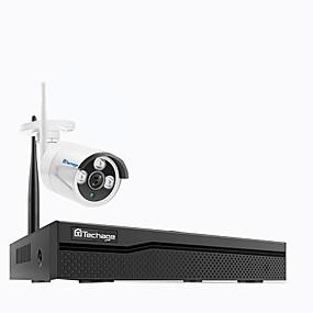 preiswerte Sicherheitssysteme-techage 1ch drahtloses Überwachungskamerasystem 1080p wifi IP-Kamera im Freien inländisches Wertpapier-Videoüberwachungssystem nvr Installationssatz