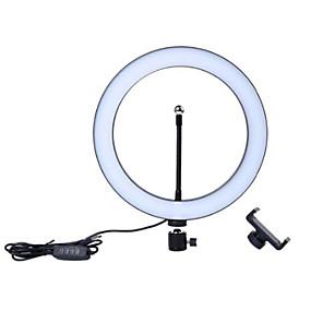 preiswerte Beleuchtung, Studio und Zubehör-Fotografie LED Selbstauslöser Ringlicht 16cm Metall dimmbar Fotografie / Handy Ringlicht mit 110 / 160cm Stativ für Make-up Video Studio