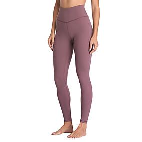 cheap Yoga & Fitness-Women's High Waist Yoga Pants Pocket Cropped Leggings Breathable Anatomic Design Solid Color Purple Blushing Pink Nylon Mesh Spandex Zumba Fitness Dance Sports Activewear High Elasticity Skinny