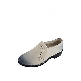 preiswerte Damen Hausschuhe-Damen Loafers & Slip-Ons Niedriger Heel Runde Zehe Schafspelz Freizeit Walking Frühling Sommer Schwarz / Weiß