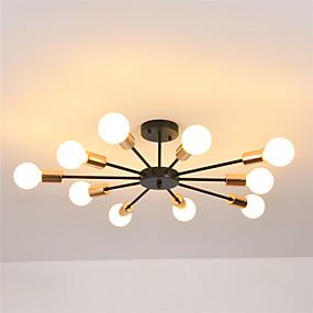 cheap Ceiling Lights & Fans-10-Light 10-Head Nordic Style Metal Semi Flush Mount Ceiling Light Modern Living Room Bedroom Dining Room lighting Painted Finish