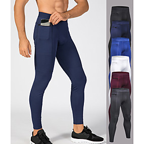 cheap Yoga & Fitness-YUERLIAN Men's High Waist Running Tights Leggings Compression Pants Pocket Cropped Leggings Thermal Warm Moisture Wicking White Burgundy Black Fitness Gym Workout Running Summer Sports Activewear