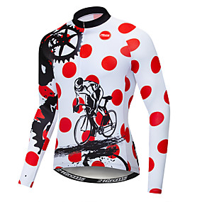cheap Cycling & Motorcycling-21Grams Polka Dot Novelty Gear Men's Long Sleeve Cycling Jersey - Red and White Bike Jersey Top UV Resistant Quick Dry Moisture Wicking Sports Winter Elastane Terylene Polyester Taffeta Mountain Bike