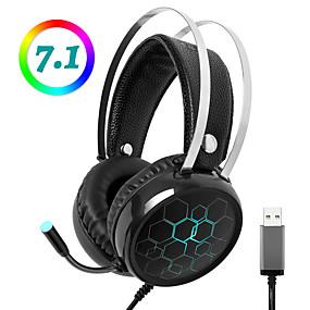 levne Hraní her-litbest x1 profesionální herní sluchátka s mikrofonem 7.1 s prostorovým zvukem a světelným mikrofonem rgb pro hernu dotg gamer pro počítač pc xbox one ps4