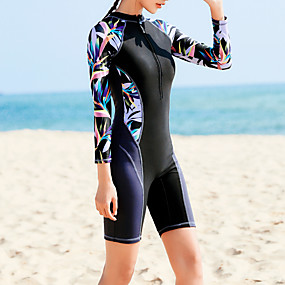 cheap Surfing, Swimming & Diving-Women's Rash Guard Dive Skin Suit Elastane Swimwear Bodysuit UV Sun Protection Quick Dry Stretchy Long Sleeve Front Zip - Swimming Diving Surfing Snorkeling Painting Summer / High Waist