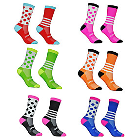 cheap Cycling & Motorcycling-Men's Women's Athletic Sports Socks Cycling Socks Compression Compression Socks Breathable Sweat wicking Black Red Blue Nylon Winter Road Bike Fitness Mountain Bike MTB Stretchy