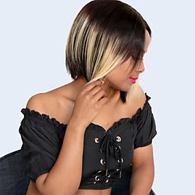 preiswerte Lace Wigs with Baby Hair-Cabello Natural Remy Unverarbeitetes reines Haar L-Teil Perücke Bob Bubikopf Pixie-Schnitt Seitenteil Stil Brasilianisches Haar Peruanisches Haar Afro Kinky Blond Perücke 150% Haardichte Klassisch