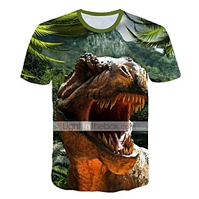 cheap Kids 3D Fashion-Kids Toddler Boys' Active Street chic Fantastic Beasts Dinosaur Animal Print Short Sleeve Tee Purple
