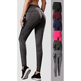 cheap Exercise, Fitness & Yoga-YUERLIAN Women's High Waist Yoga Pants Pocket Patchwork Leggings Tummy Control Butt Lift Dark Grey Black Burgundy Mesh Elastane Fitness Gym Workout Running Winter Sports Activewear High Elasticity