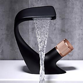preiswerte Badarmaturen-Waschbecken Wasserhahn - Wasserfall Galvanisierung Mittellage Einhand Ein LochBath Taps