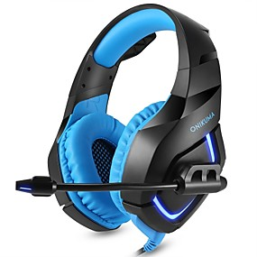 preiswerte Gaming-Stamm-Onikuma K1-B Gaming-Headset mit LED-Kabel Stereo Deep Bass-Kopfhörer mit Mikrofon für PS4 neue Xbox PC-Telefon Spiel Pubg Kopfhörer
