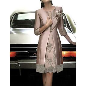 preiswerte Damen Kleider-Damen Elegant Satin Schlank Hülle Zweiteiler Kleid - Spitze, Blumen Knielang