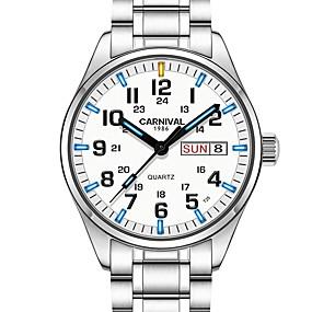 preiswerte Jewelry & Watches-Carnival Herrn Uhr Armbanduhr Quartz Edelstahl Weiß 30 m Wasserdicht Armbanduhren für den Alltag Tauchen Analog Charme Modisch Weiß Weiß + blau