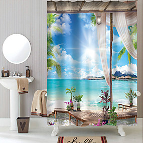 cheap Shower Curtains-Shower Curtains with Hooks Rustic Coconut Bay Scenery Polyester Novelty Fabric Waterproof Shower Curtain for Bathroom