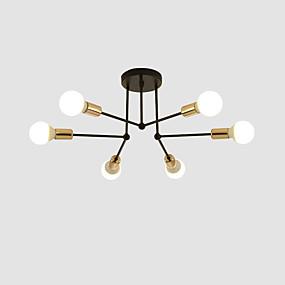 cheap Ceiling Lights-6-Light 60 cm Flush Mount Lights Metal Linear Electroplated Painted Finishes Modern Nordic Style 110-120V 220-240V E26 E27