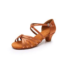 preiswerte Tanzschuhe-Damen Tanzschuhe Satin Schuhe für den lateinamerikanischen Tanz Pailetten Absätze Kubanischer Absatz Schwarz / Braun / Leopard