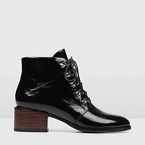 baratos Sapatos Femininos-Mulheres Botas Salto Robusto Ponta Redonda Couro Ecológico Botas Cano Médio Outono & inverno Preto / Vinho / Verde