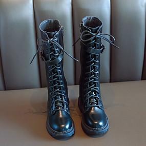 preiswerte Schuhe für Kinder-Mädchen Komfort PU Stiefel Große Kinder (ab 7 Jahren) Schwarz / Beige Herbst / Mittelhohe Stiefel
