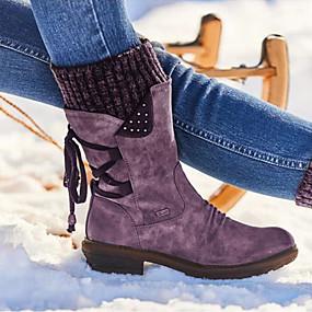 preiswerte Damenschuhe-Damen Stiefel Komfort Schuhe Blockabsatz Runde Zehe PU Booties / Stiefeletten Winter Schwarz / Purpur / Rot
