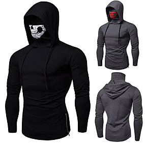 cheap Fitness & Yoga-Men's Long Sleeve Hoodie with Mask Running Shirt Protective Clothing Hoodie Top Cotton Windproof Breathable Soft Fitness Gym Workout Running Jogging Bodybuilding Sportswear Skull Dark Grey Black