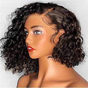 abordables Curly Lace Wigs-Peluca Pelo Natural Encaje Frontal Cabello Brasileño Ondulado Negro Corte Bob Bob corto Parte libre Mujer Densidad 130% con pelo de bebe Entradas Naturales Para mujeres de color 100% Virgen Atado 100