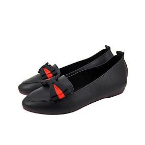 preiswerte Damen Hausschuhe-Damen Loafers & Slip-Ons Flacher Absatz Runde Zehe Schleife PU Freizeit Walking Frühling Sommer Schwarz / Rot
