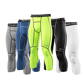 cheap Running, Jogging & Walking-Arsuxeo Men's Leggings Running Tights Running 3/4 Capri Pants 1pc Spandex Sports 3/4 Tights Leggings Running Fitness Gym Workout Exercise Quick Dry Moisture Wicking Three Dimensional Tailor Plus Size