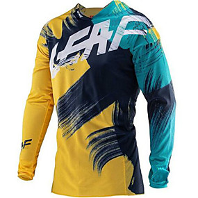 cheap Cycling & Motorcycling-21Grams Men's Long Sleeve Cycling Jersey Downhill Jersey Dirt Bike Jersey Winter Spandex Polyester Green / Yellow Graffiti Bike Jersey Thermal Warm UV Resistant Quick Dry Breathable Back Pocket Sports