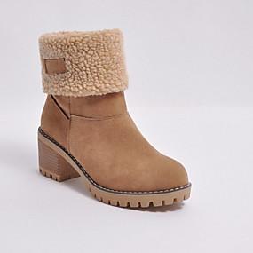 baratos Sapatos Femininos-Mulheres Botas Salto Robusto Ponta Redonda Camurça Botas Curtas / Ankle Inverno Preto / Laranja / Verde