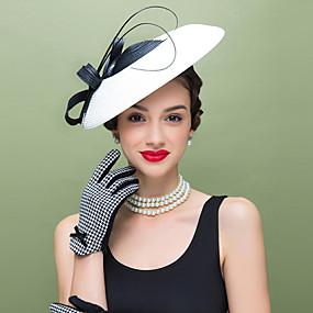 voordelige Melbourne Cup Carnival Hats-Veer / Polyesteri Kentucky Derby Hat / fascinators / Hoofddeksels met Bloemen 1pc Bruiloft / Speciale gelegenheden  / Causaal Helm